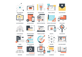 25 Flat Colorful SEO Icons 1