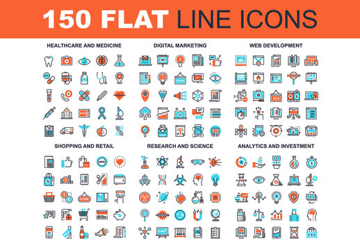 150 Three-Color Line Art Icons 2