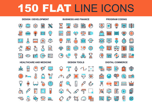 150 Three-Color Line Art Icons 3