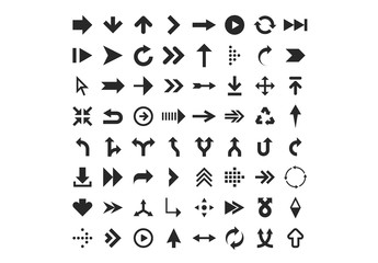 64 Black and White Arrow Icons