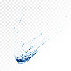 Blue water vector splash isolated on transparent background. blue realistic aqua spray with drops. 3d illustration. semitransparent liquid surface backdrop created with gradient mesh tool.