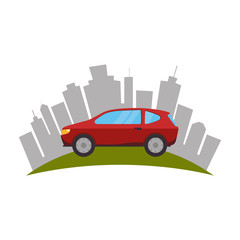 cityscape buildings and car isolated icon vector illustration design