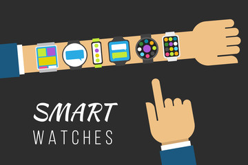 Variety of smart watches on a hand. Vector illustration concept, flat style.