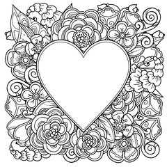 Decorative love frame with heart