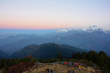Sunrise view over Annapurna mountains, in the Himalayas mountain range, from Poon Hill
