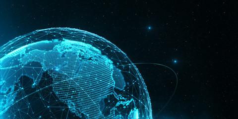 Communications digital globe world/3D illustration of the virtual hologram communication system of the planet Earth