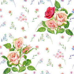 Floral square seamless pattern, pink, red, blue flowers, bouquet of roses, green leaves on white background, hand draw watercolor painting, botanical illustration, vintage