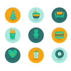 Obesity icons set