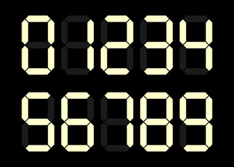 Electronic figures. Yellow dial isolated on a black background. Numbers - 0, 1, 2, 3, 4, 5, 6, 7, 8, 9. LCD numbers set for a digital watch and other electronic devices. Vector illustration