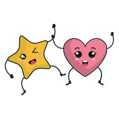star and heart kawaii characters vector illustration design