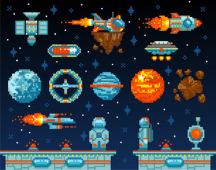 Pixel art. Vintage game design interface. Arcade game elements, vector illustration. Vintage space level. Video platform game interface design