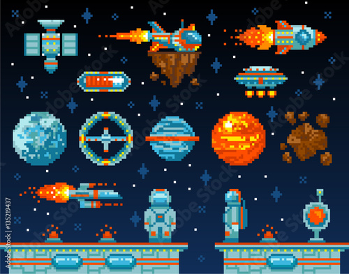 Pixel art. Vintage game design interface. Arcade game elements ...