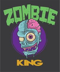 Zombie Head Cartoon T shirt design
