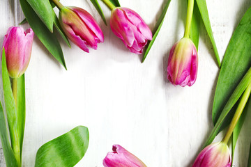 Spring tulips frame on white wooden background, top view