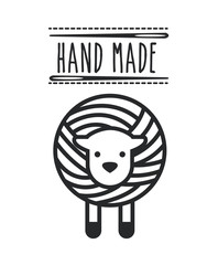 sheep and needles icon over white background. hand made concept. vector illustration