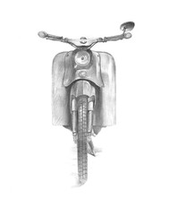 Pencil drawing of a retro motorbike