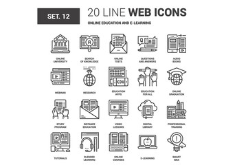 20 Black and White Line Art E-Learning Icons