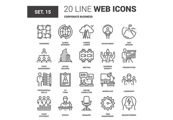 20 Black and White Line Art Business Icons