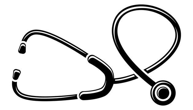Stethoskop-Icon / Vektor, schwarz-weiß