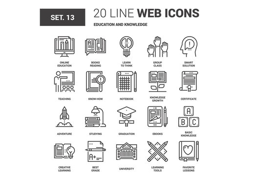 20 Black and White Line Art Education Icons