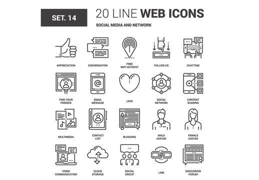 20 Black and White Line Art Social Media Icons