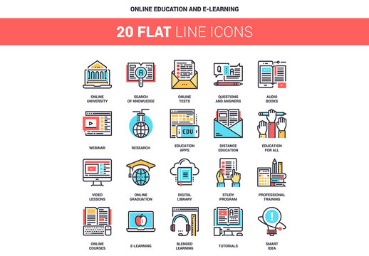 20 Five-Color Line Art E-Learning Icons