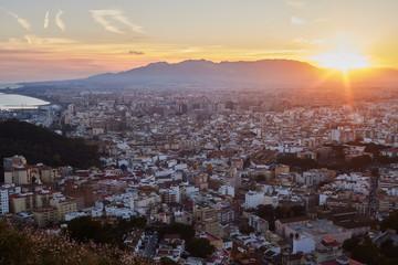 City of Malaga at dusk