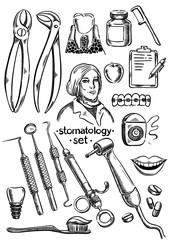 Dental instruments and equipment set