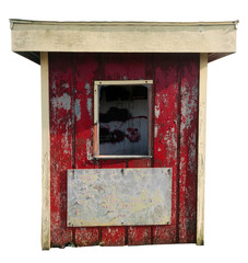Shabby abandoned ticket kiosk. Isolated. Vertical.