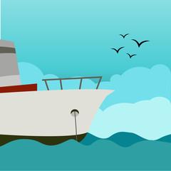Ship vector Illustration. Styled white ship on the ocean, sea