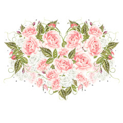 Romantic illustrations for Valentines Day. Watercolor card with