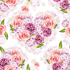 Watercolor pattern with bright colors of rose and a peony, curra