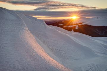 Fototapeta Bieszczady mountains in winter, beautiful sunrise obraz