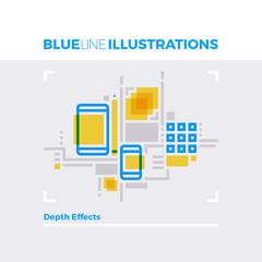 Depth Effect Blue Line Illustration.