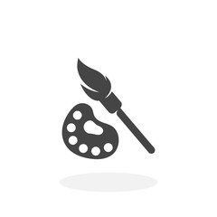 Paint brush with palette Icon. Vector logo on white background