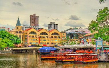 Heritage boats on the Singapore River
