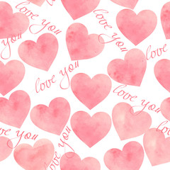 Seamless pattern of hearts on white background for Valentine's day or wedding