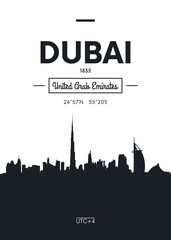 Poster city skyline Dubai, Flat style vector illustration