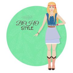Young beautiful woman. Boho style fashion girl. Vector illustration.