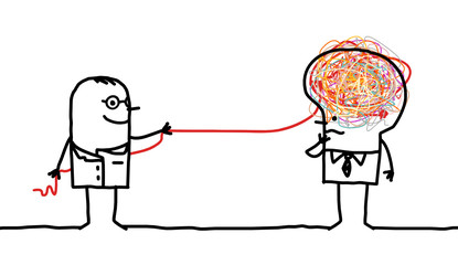 Cartoon man untangling a brain