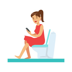 Woman With Gadget In Toilet, Part Of People In The Bathroom Doing Their Routine Hygiene Procedures Series