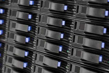 Closeup Of Hard Drives In Large SAN Storage