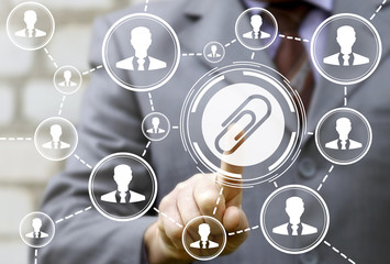 Clip business office clerical work social network education concept. Man presses staple icon of background of cloud people businessman. Paperclip teamwork employee internet school learning technology