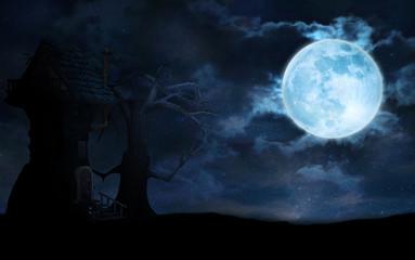 Starry night Fantasy landscape