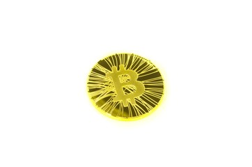 Single golden bitcoin coin on white background