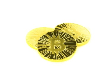 Three golden bitcoin coin on white background