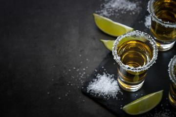 Tequila shot with lime and sea salt