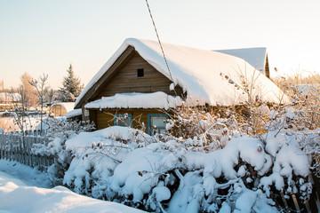 Winter village and snow around