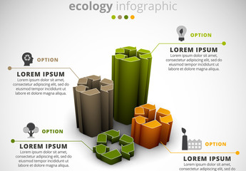 Ecology Infographic with 3D Recycling Symbol Element
