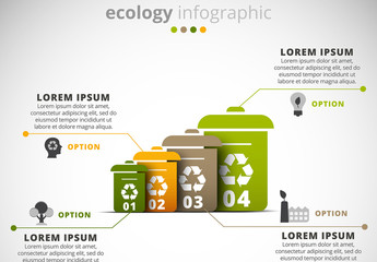 Ecology Infographic with Recycling Bin Illustration Element